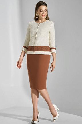 Комплект юбочный Lissana 3741 молочный с коричневым