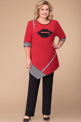 Комплект брючный Svetlana Style 1256 красный с черным
