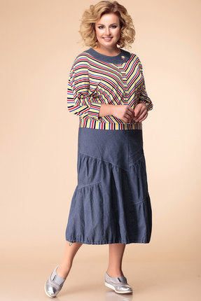 Фото - Комплект юбочный Romanovich style 2-1857 синий с цветным цвет синий с цветным
