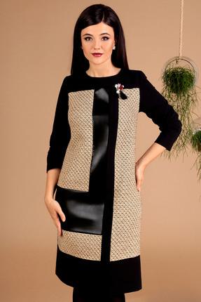 Фото 3 - Платье Мода-Юрс 2457 черный+бежевый цвет черный+бежевый