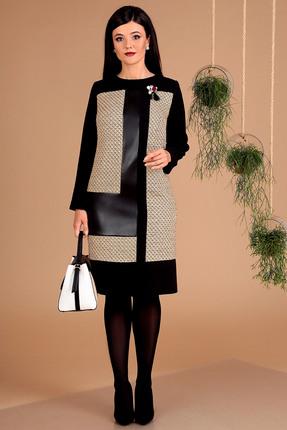 Фото - Платье Мода-Юрс 2457 черный+бежевый цвет черный+бежевый
