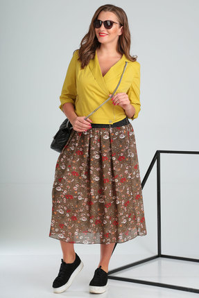 Комплект юбочный Viola Style 2621 желтый с коричневым