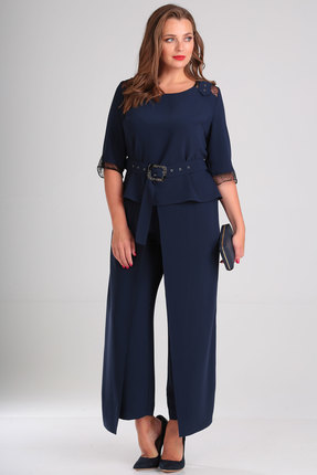 женский брючный костюм viola style, синий