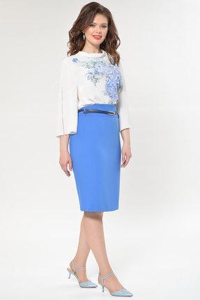 Комплект юбочный Faufilure с759 молочный с голубым