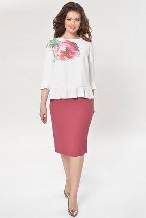 Комплект юбочный Faufilure с760 молочный с малиновым