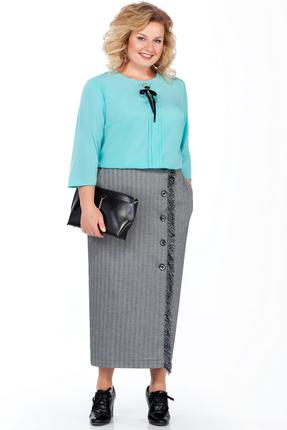 Комплект юбочный Pretty 937 серый с бирюзовым