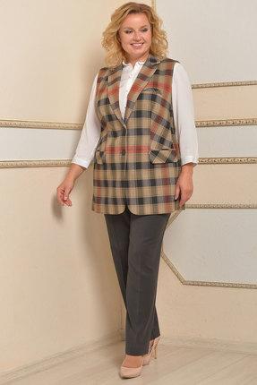 Комплект брючный Lady Style Classic 950 серый с бежевым
