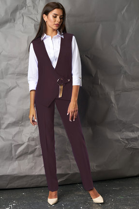 Комплект брючный Миа Мода 1067-3 темно-бордовый