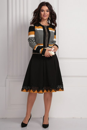 Комплект юбочный Solomeya Lux 624 черный с горчицей