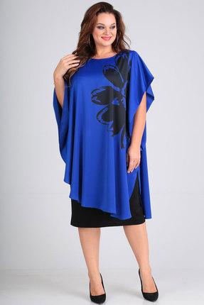 Фото - Платье Andrea Style 00190 синий с черным цвет синий с черным
