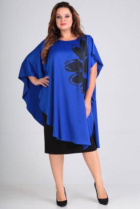 Фото 2 - Платье Andrea Style 00190 синий с черным цвет синий с черным