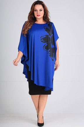 Фото 3 - Платье Andrea Style 00190 синий с черным цвет синий с черным