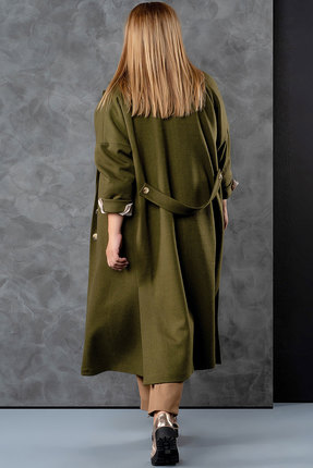 Фото 3 - Пальто Deesses 8001 хаки цвета хаки