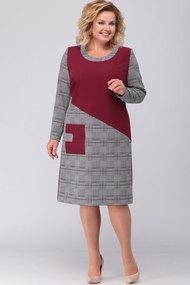 Платье Асолия 2437 серый+бордовый