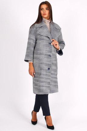 Пальто Миа Мода 1071-5 сине-белые тона