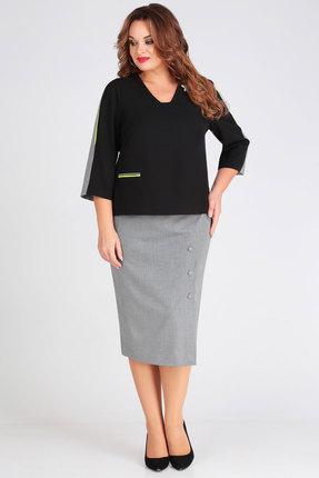 Фото 2 - Комплект юбочный Denissa Fashion 1266 черный с серым цвет черный с серым