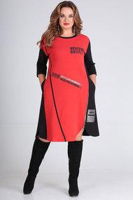 Платье SandyNa 13628 черный с красным
