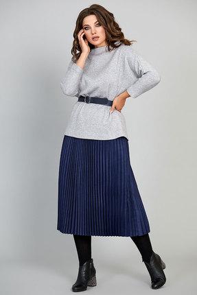 Комплект юбочный Olga Style с627 серый с синим