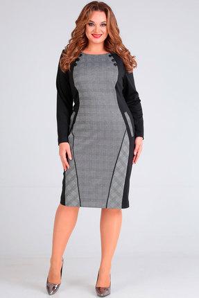 Платье Andrea Style 00218 серый с черным