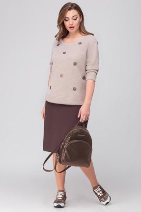 Комплект юбочный Anna Majewska 1305 бежевый с коричневым