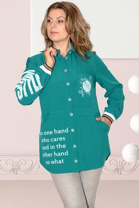Женская бирюзовая однотонная рубашка с воротником стойка и карманами