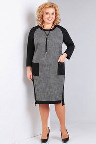 Платье Милора-Стиль 683 черный с серой клеткой