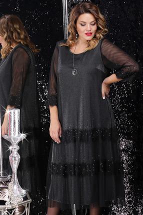 Платье LeNata 11064 черный с серебром