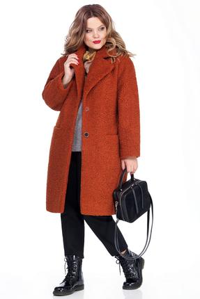 Женское оранжевое зауженное пальто кокон на синтепоне