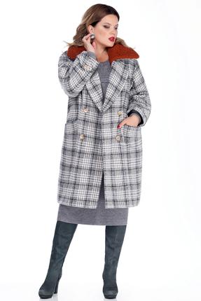 Женское утепленное шерстяное пальто в клетку с меховым воротником