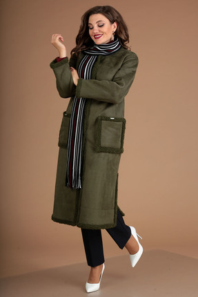женское пальто мода-юрс, зеленое