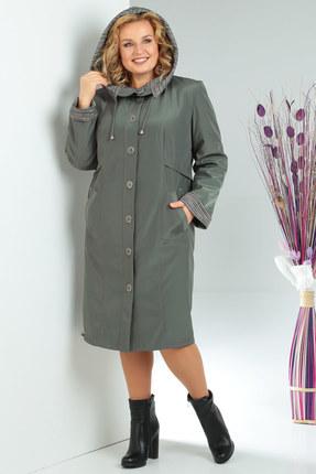 Женское демисезонное пальто в клетку из плащевки на синтепоне