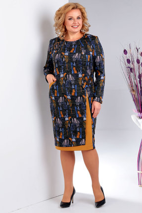 женское повседневные платье milana, синее