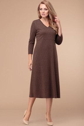 женское повседневные платье линия-л, коричневое