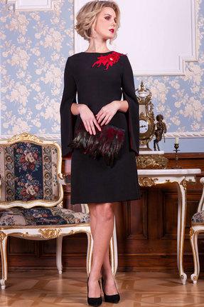 Платье Euromoda 197 черный  с красным