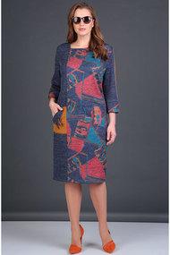 Платье Viola Style 0888 синий с розовым
