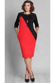 Платье Галеан Cтиль 577 черный с красным