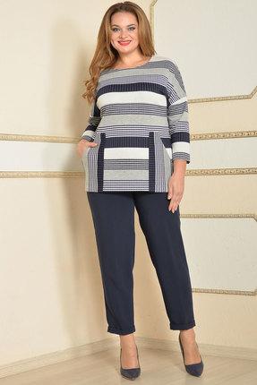 Комплект брючный Lady Style Classic 1358/1 темно-синий с серым