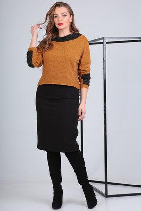Комплект юбочный Viola Style 2640 горчица с черным
