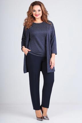 Комплект брючный Denissa Fashion 1197-2 темно-синий