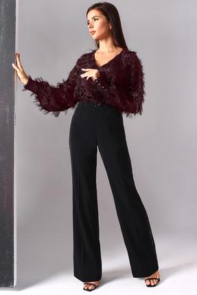 Комплект брючный Миа Мода 1099-1 бордо с черным
