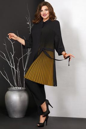 женский брючный костюм мублиз, черный