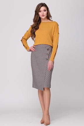 Комплект юбочный Verita Moda 2029 серый с желтым
