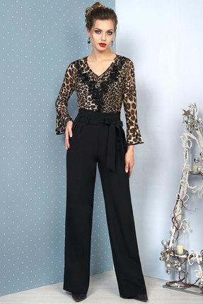 Комплект брючный Alani 1047 черный с леопардовым