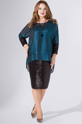 Платье Avanti Erika 736-1 черный с бирюзой