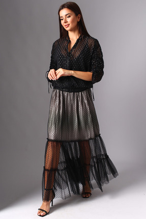 Комплект юбочный Миа Мода 1104-1 черный с серебром
