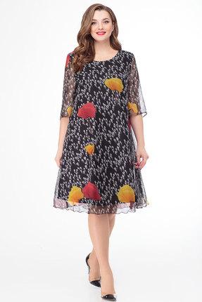 Фото - Платье Дали 4295 черный с цветным цвет черный с цветным