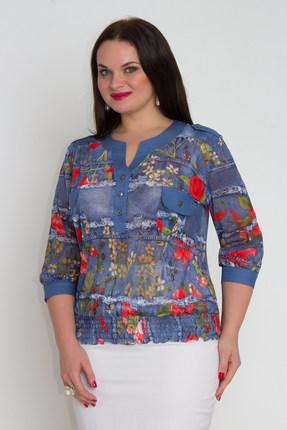 Блузка Дали 382 синий с красными цветами