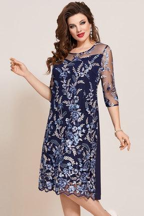 Платье Vittoria Queen 10803 синий с цветами