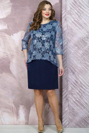 женское вечерние платье белтрикотаж, синее