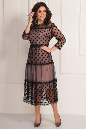 Платье Solomeya Lux 669 розовый с черным в горох